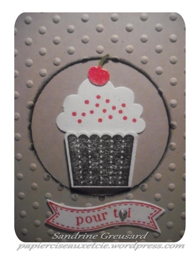 carte cupcake 1 Sandrine Greusard Démonstratrice Indépendante Stampin'Up