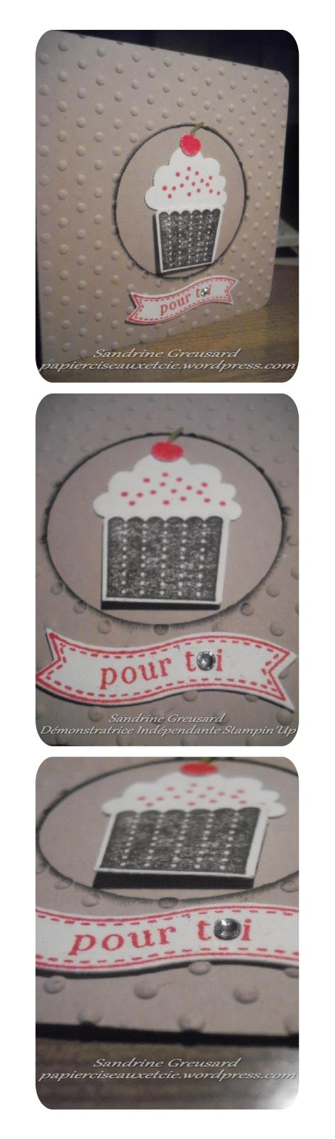 carte cupcake 2 Sandrine Greusard Démonstratrice Indépendante Stampin'Up