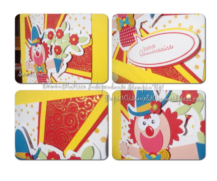 Punch art Clown Stampin'up acrte anniversaire birthday card details