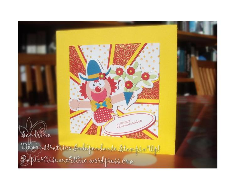 Punch art Clown Stampin'up acrte anniversaire birthday card