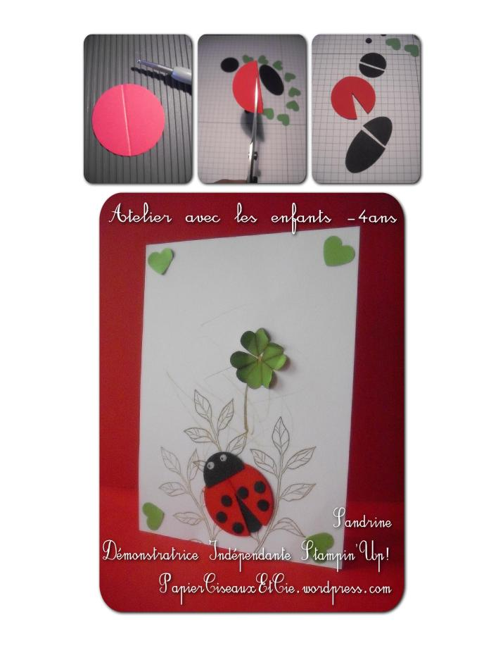 Punch art Coccinelle Ladybug Stampin'Up carte card