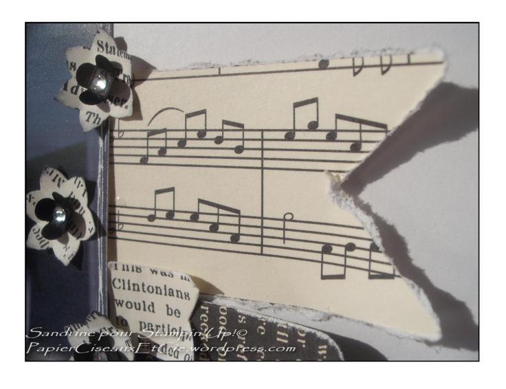 Page de scrap noir et blanc stampin up bordures décichirées et brillants