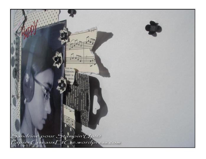 Page de scrap noir et blanc stampin up partiellement collés
