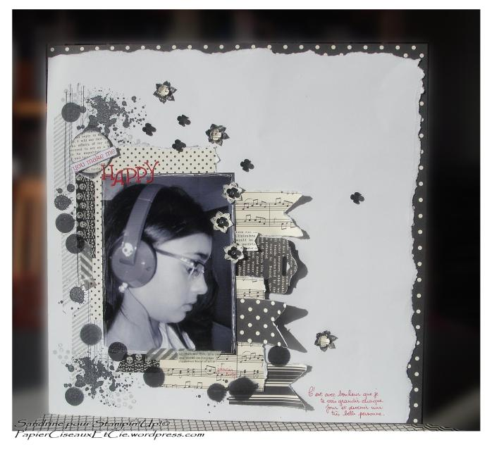 Page de scrap noir et blanc stampin up pot pourri pèrenne