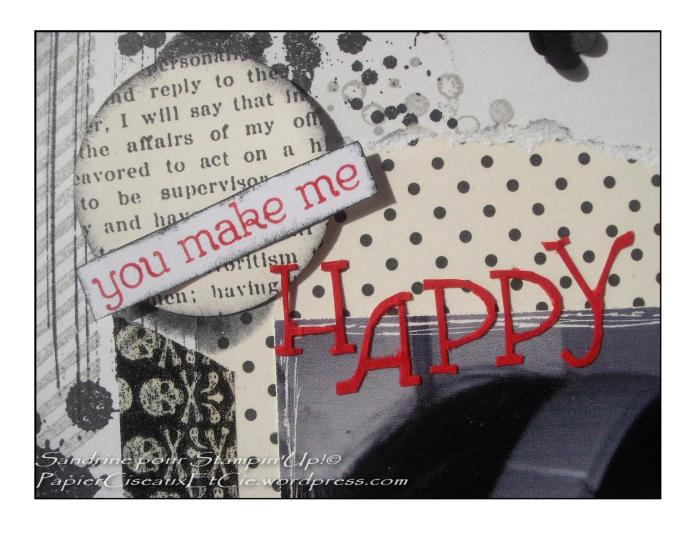 Page de scrap noir et blanc stampin up you titre sentiment