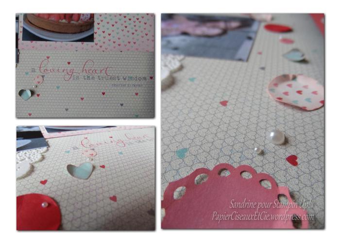page de scrap a loving heart stampin up sandrine greusard détails