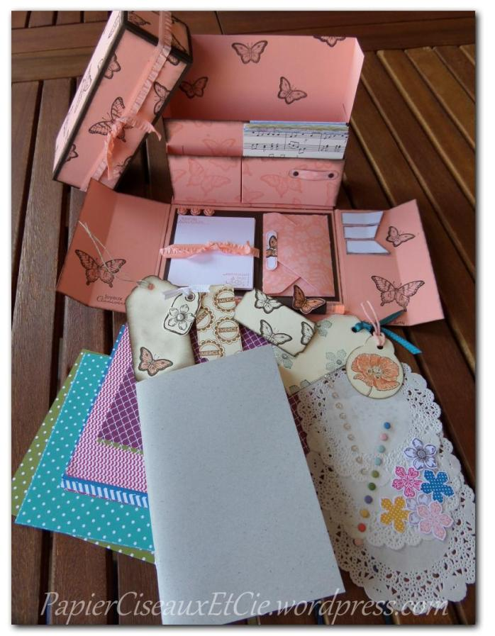 stationary box sandrine greusard pour Stampin'Up!avec carnet à décorer papierciseauxetcie