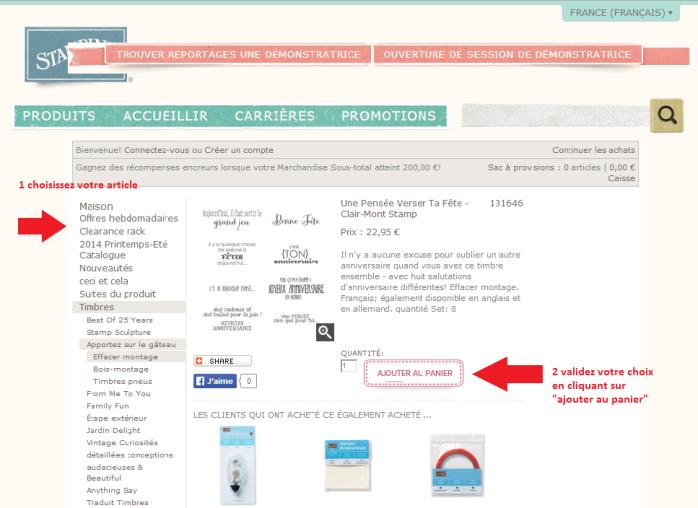 Passer une commande sur le site internet Stampin'Up! Etape 1 via Sandrine Greusard - Démonstratrice Indépendante