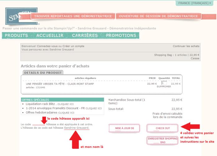 Passer une commande sur le site internet Stampin'Up! Etape 3 via Sandrine Greusard - Démonstratrice Indépendante