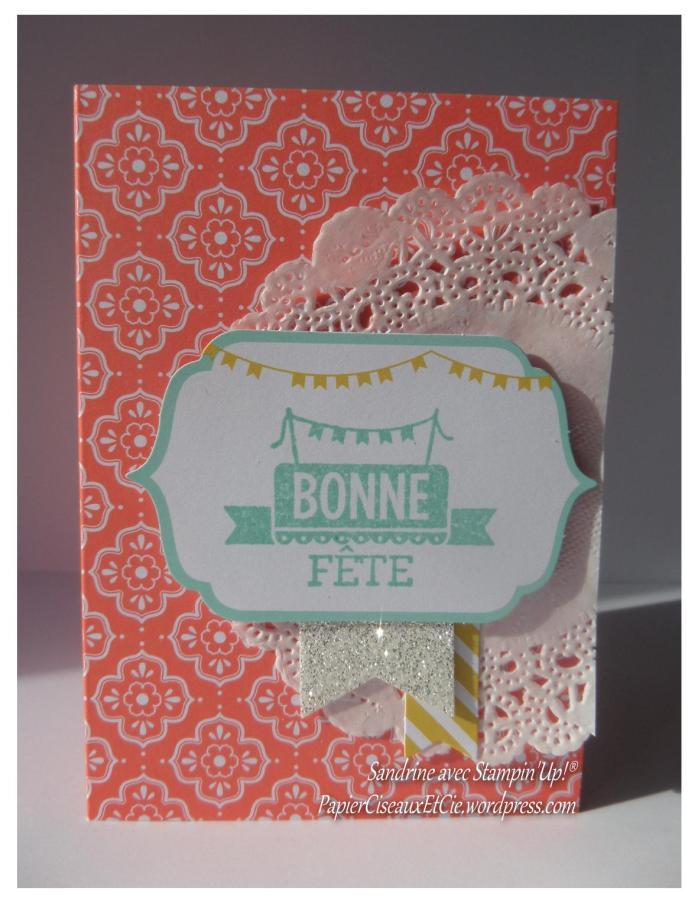 carte bonne fête sandrine stampin up papierciseauxetcie