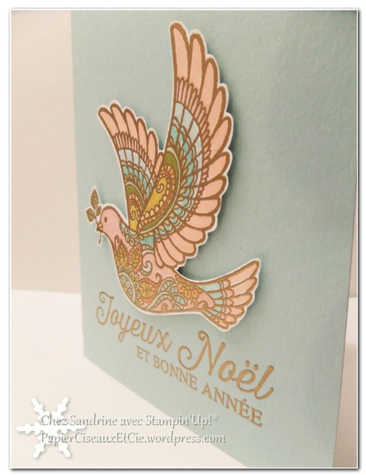 sandrine papierciseauxetcie dove of peace carte de noel christmas card stampin up détail