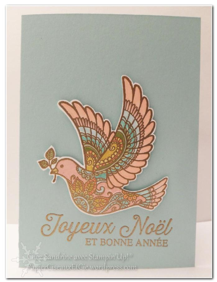 sandrine papierciseauxetcie dove of peace carte de noel christmas card stampin up