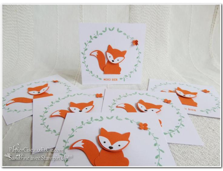 Foxy friends carte remerciement thank you stampin up merci papierciseauxetcie.com