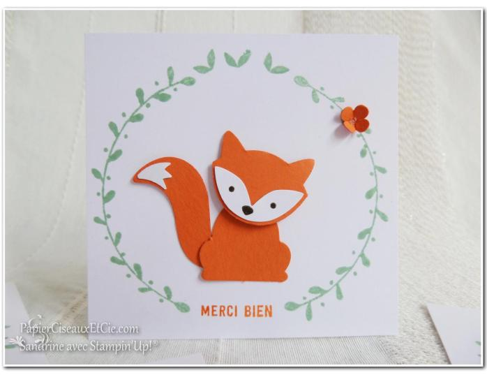 Foxy friends carte remerciements thank you stampin up merci papierciseauxetcie