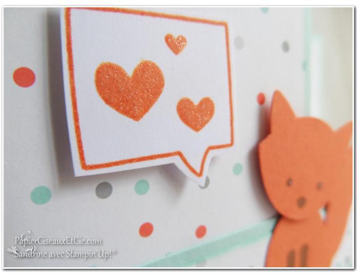 Foxy friend sandrine greusard avec Stampin Up PapierCiseauxEtCie coeurs pailletés détail