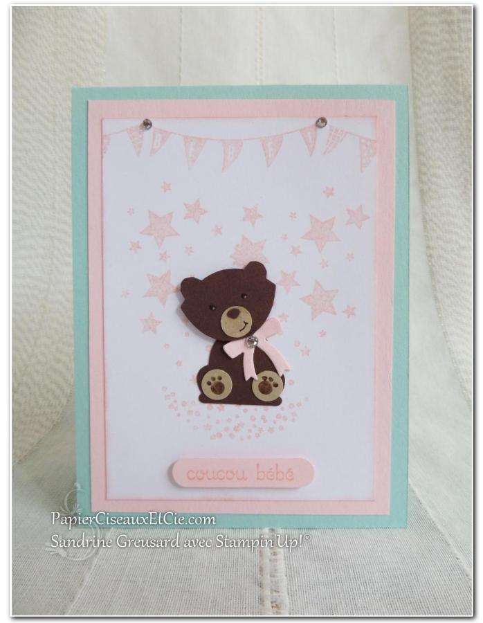 papierciseauxetcie carte naissance baby bébé stampin up sandrine greusard