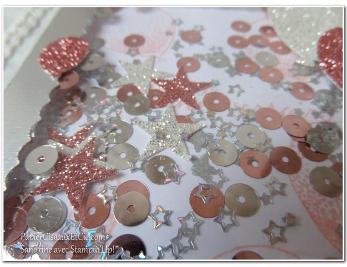 PapierCiseauxEtCie Stampin Up Sandrine Shaker card Anniversaire Birthday détail 2 sequins