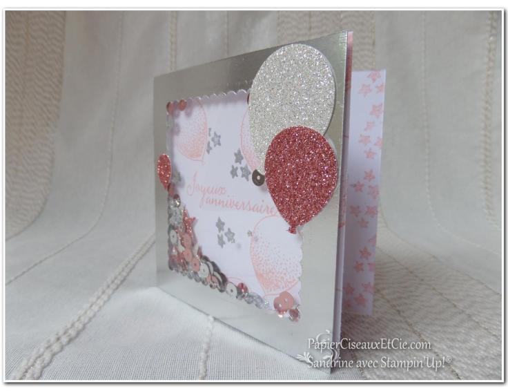 PapierCiseauxEtCie Stampin Up Sandrine Shaker card Anniversaire Birthday détail ouverte