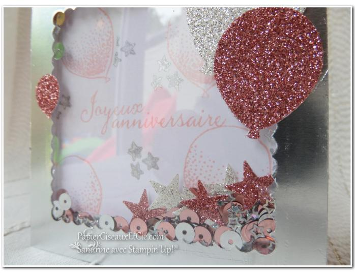 PapierCiseauxEtCie Stampin Up Sandrine Shaker card Anniversaire Birthday détail sequins