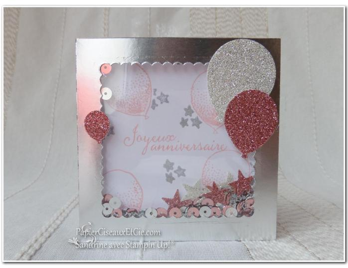 PapierCiseauxEtCie Stampin Up Sandrine Shaker card Anniversaire Birthday