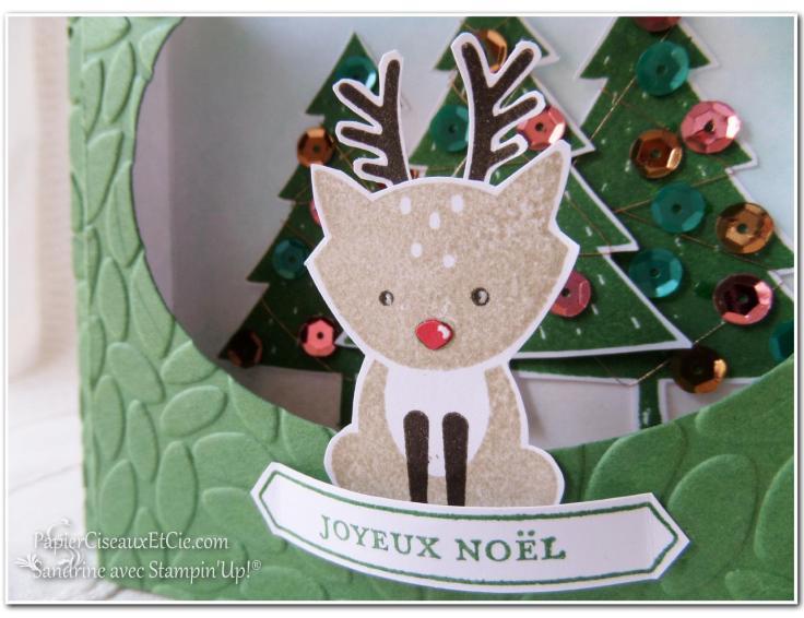 Foxy friend stampin up papierciseauxetcie carte théatre noel détail