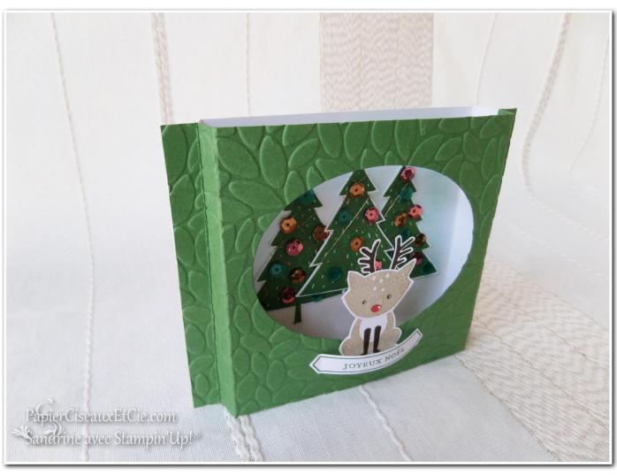 Foxy friend stampin up papierciseauxetcie carte théatre noel relief