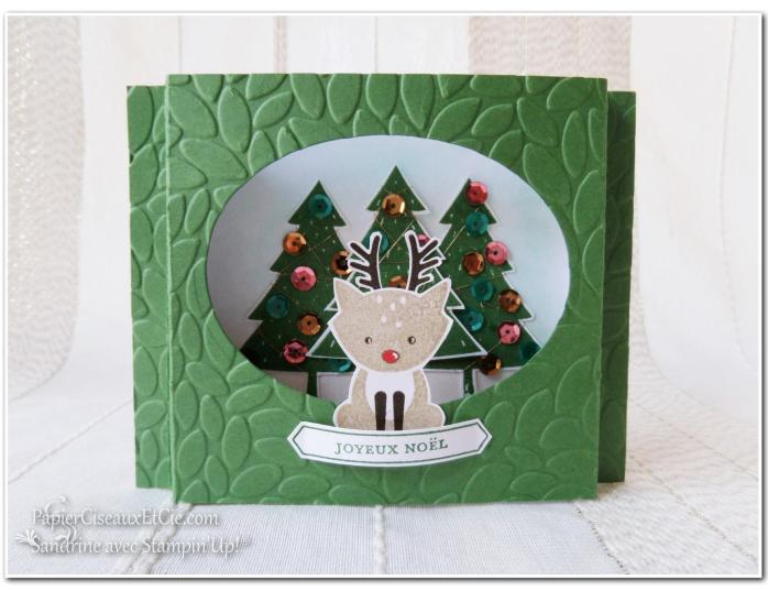 Foxy friend stampin up papierciseauxetcie carte théatre noel