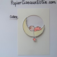 Blog Hop Autour d'un set de tampons: Moon Baby! et Tutoriel Shaker card ou carte à secouer
